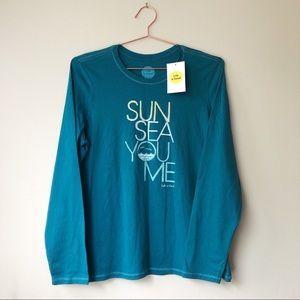 "Life is Good Long Sleeve ""Sun Sea You Me"" Tee. NWT"
